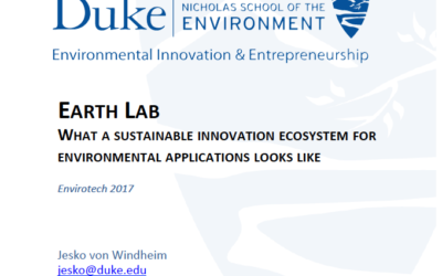 EarthLab: What a sustainable innovation ecosystem for environmental applications looks like